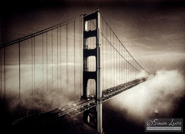 Golden Gate Bridge being enveloped by fog edition print