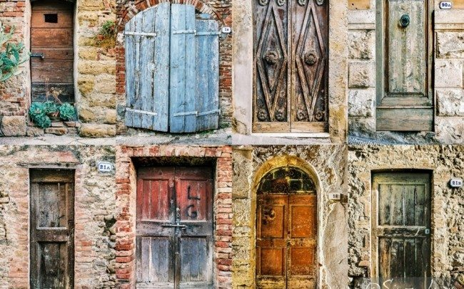 eight doors taken from a village in tuscany